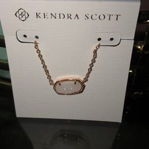 NWT Kendra Scott Rose Gold White Drusy necklace
